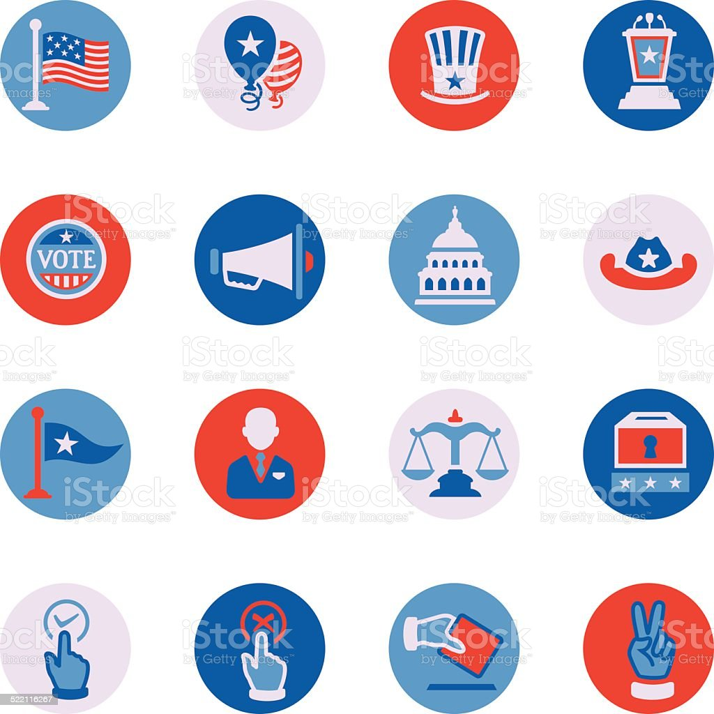 Politics Icon Set vector art illustration