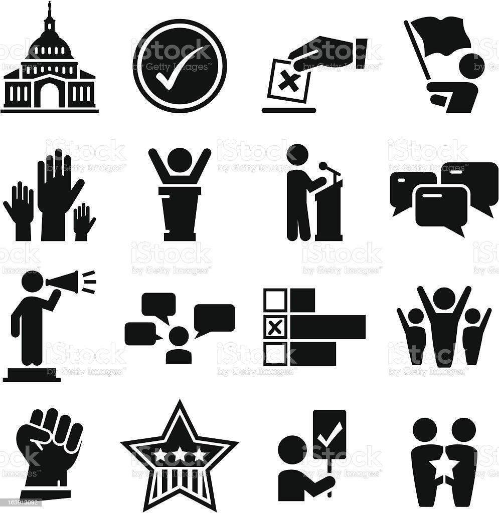 Politics Icons - Black Series vector art illustration