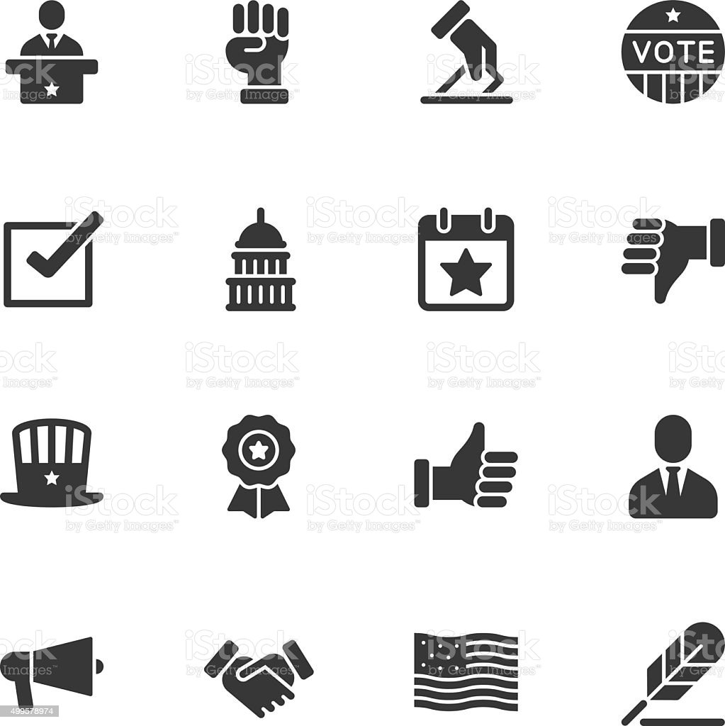 Politics icons - Regular vector art illustration