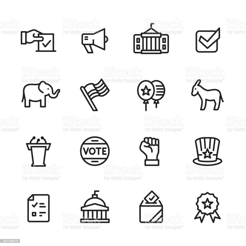 Politics - outline icon set vector art illustration