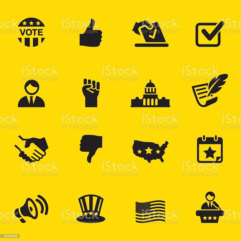 Politics Yellow Silhouette Icons 1 vector art illustration