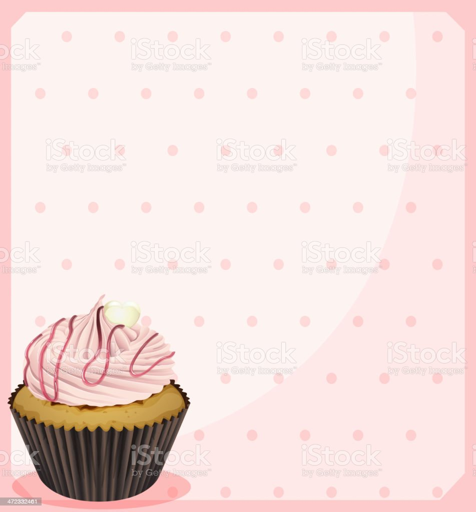 polka dot stationery with a cupcake royalty-free stock vector art