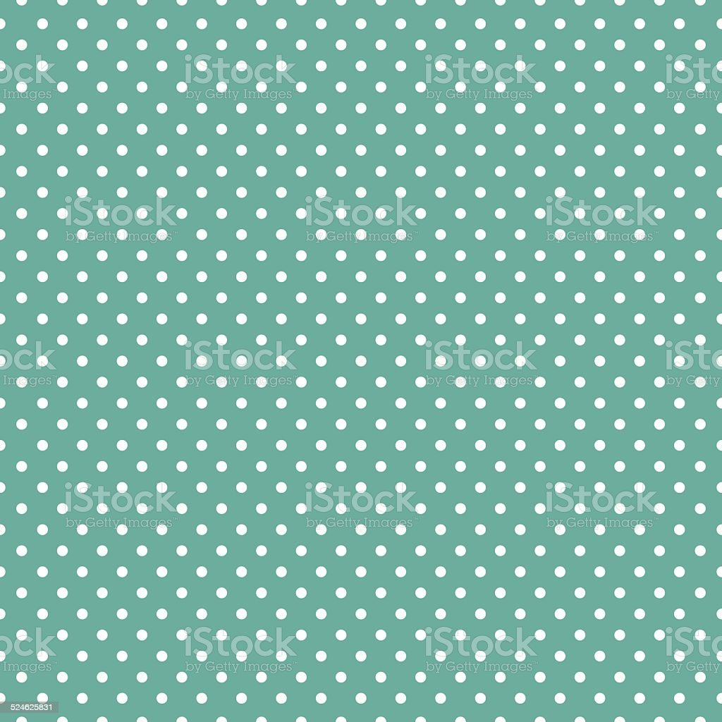 Polka dots on mint green background vector art illustration