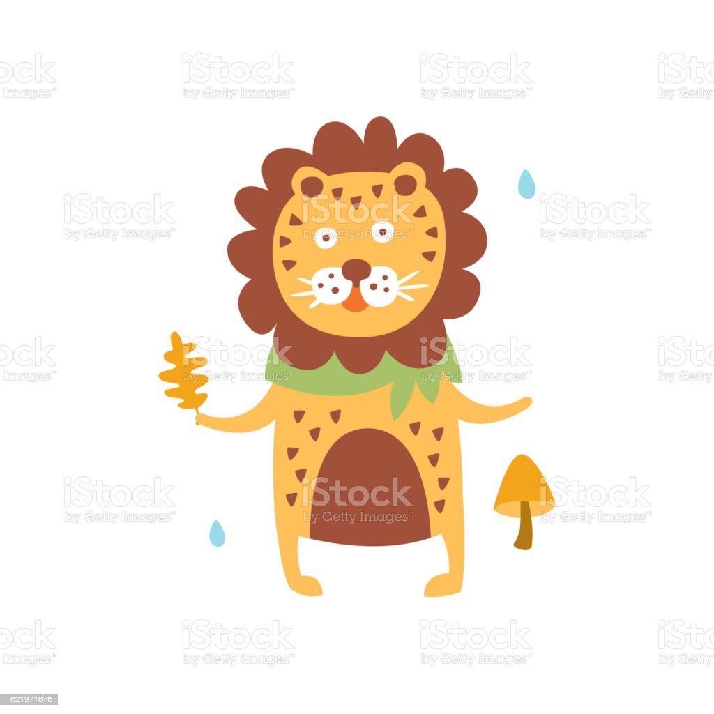 Polka-Dotted Lion In Scarf Holding Oak Leaf In Autumn vector art illustration