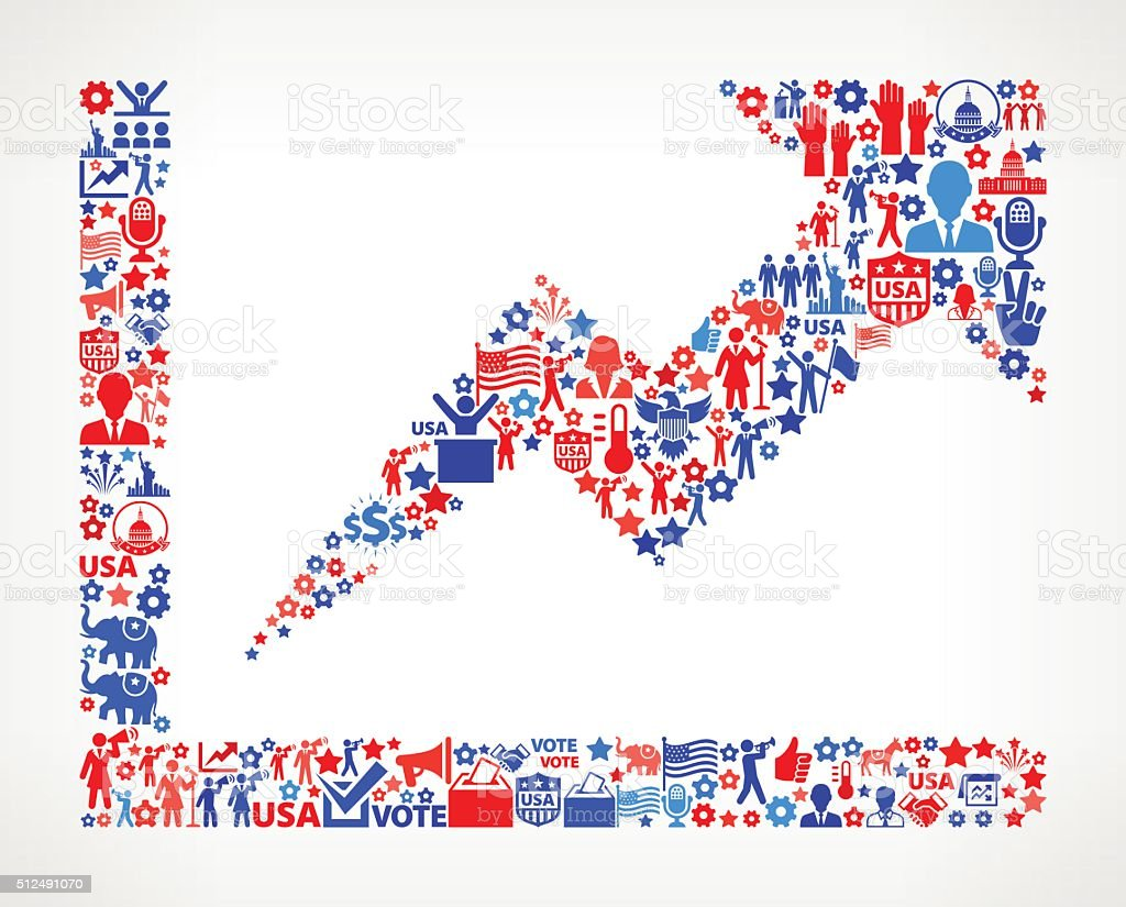 Poll Vote and Elections USA Patriotic Icon Pattern vector art illustration