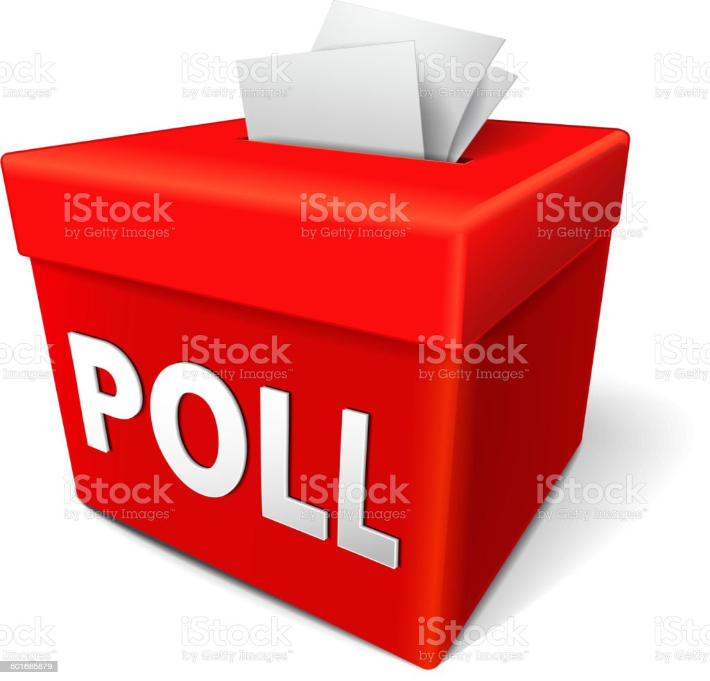 poll word on a red collection box royalty-free stock vector art