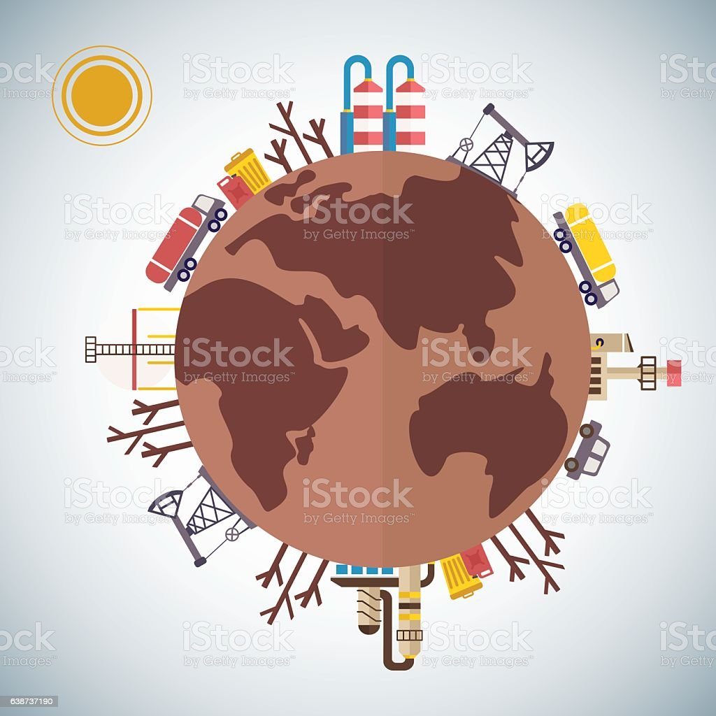 polluted earth planet vector art illustration