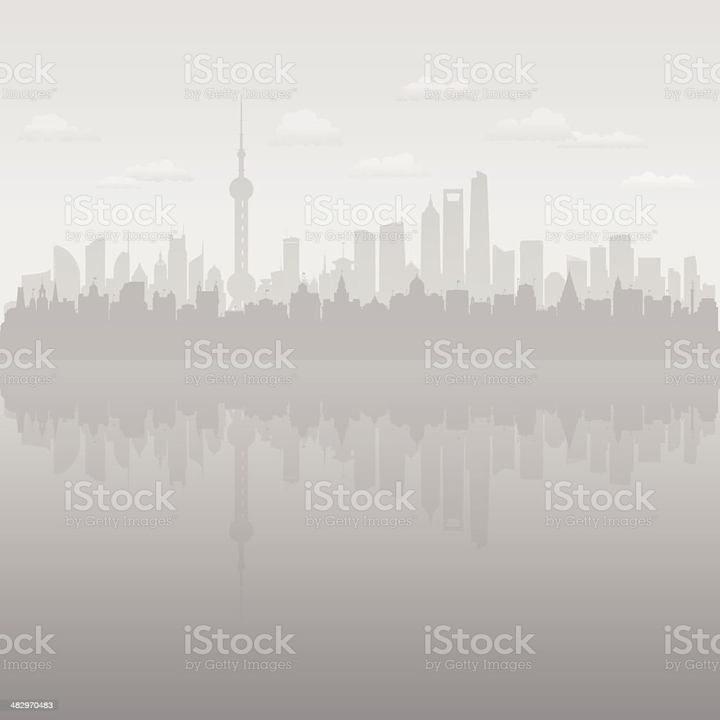 Polluted Shanghai (Each Building is Complete and Moveable) vector art illustration