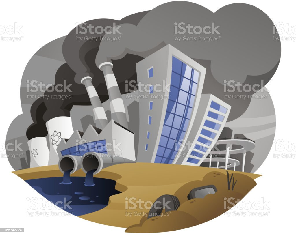 Polluting city with fume chimney factory plant drain waste pipe royalty-free stock vector art