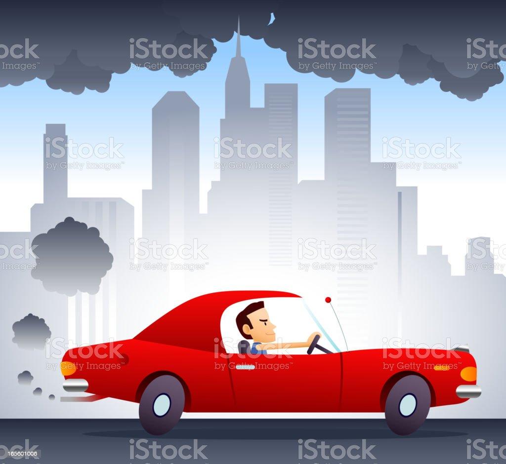 Polluting Environment Car Smog vector art illustration