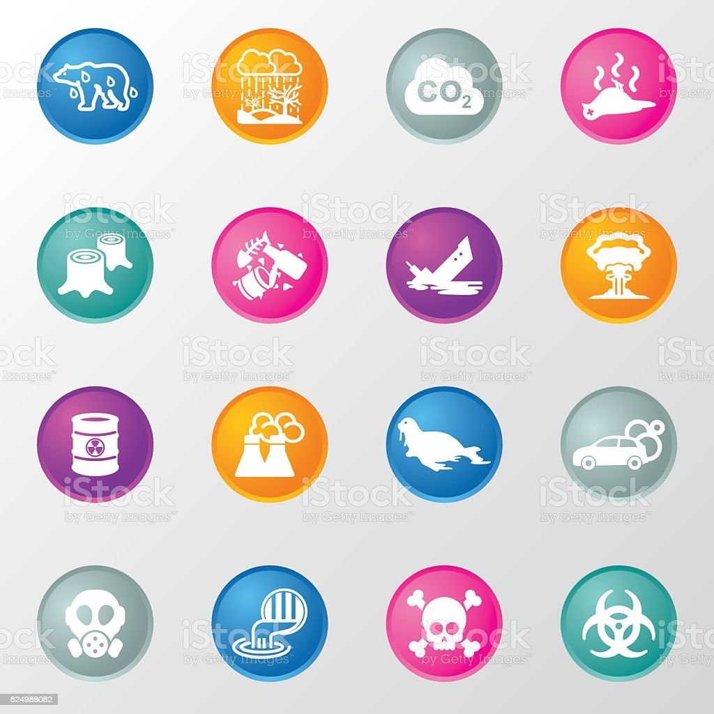 Pollution Circle Color Icons vector art illustration