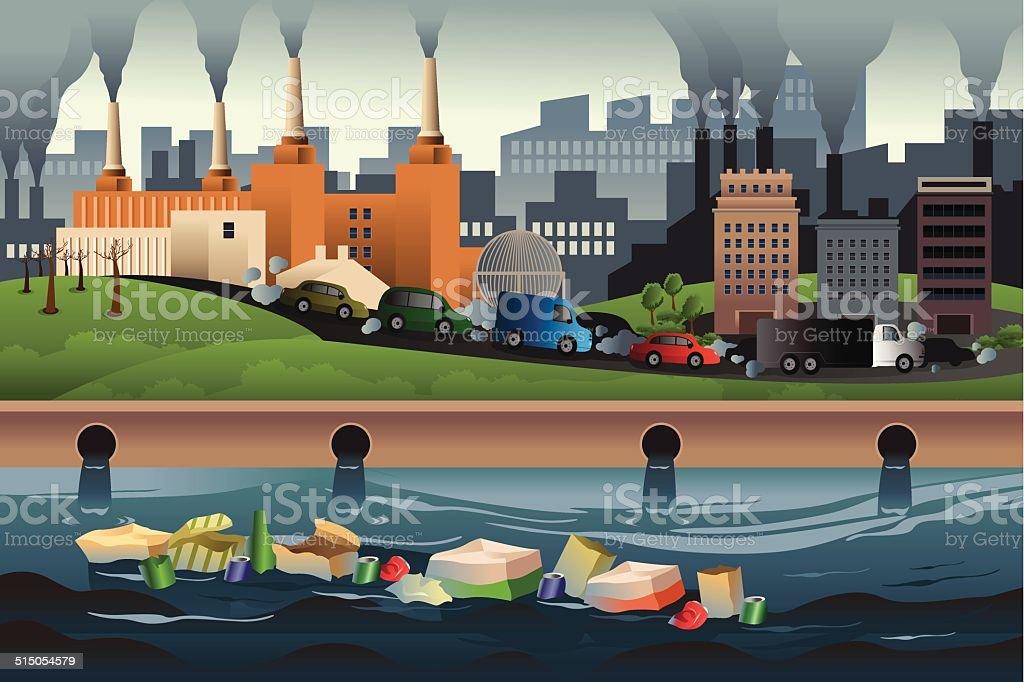 Pollution concept vector art illustration