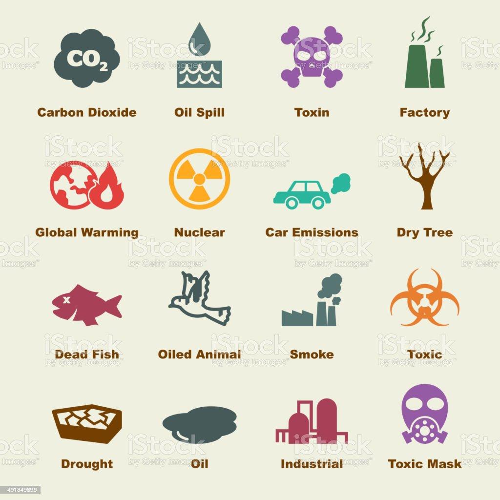 pollution elements vector art illustration