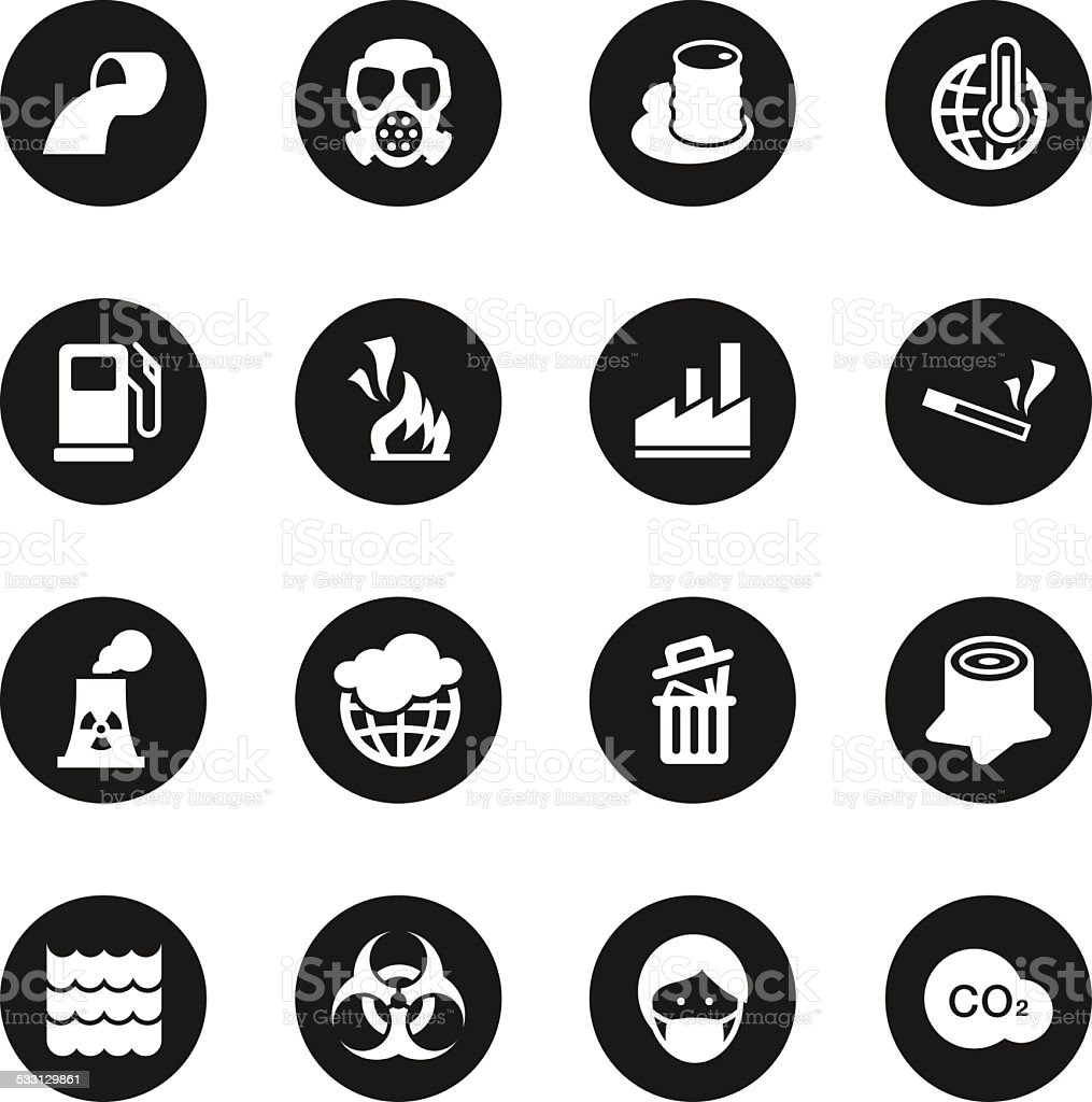 Pollution Icons - Black Circle Series vector art illustration