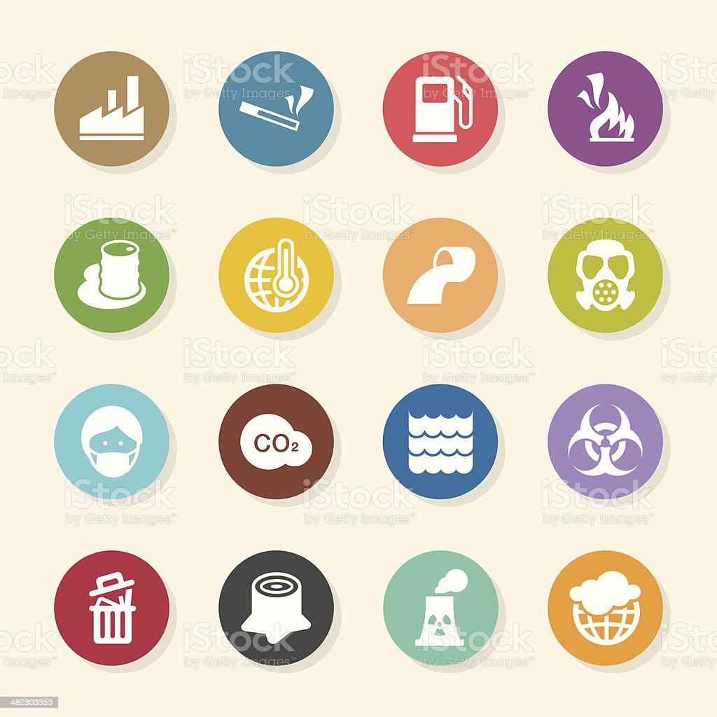 Pollution Icons - Color Circle Series vector art illustration