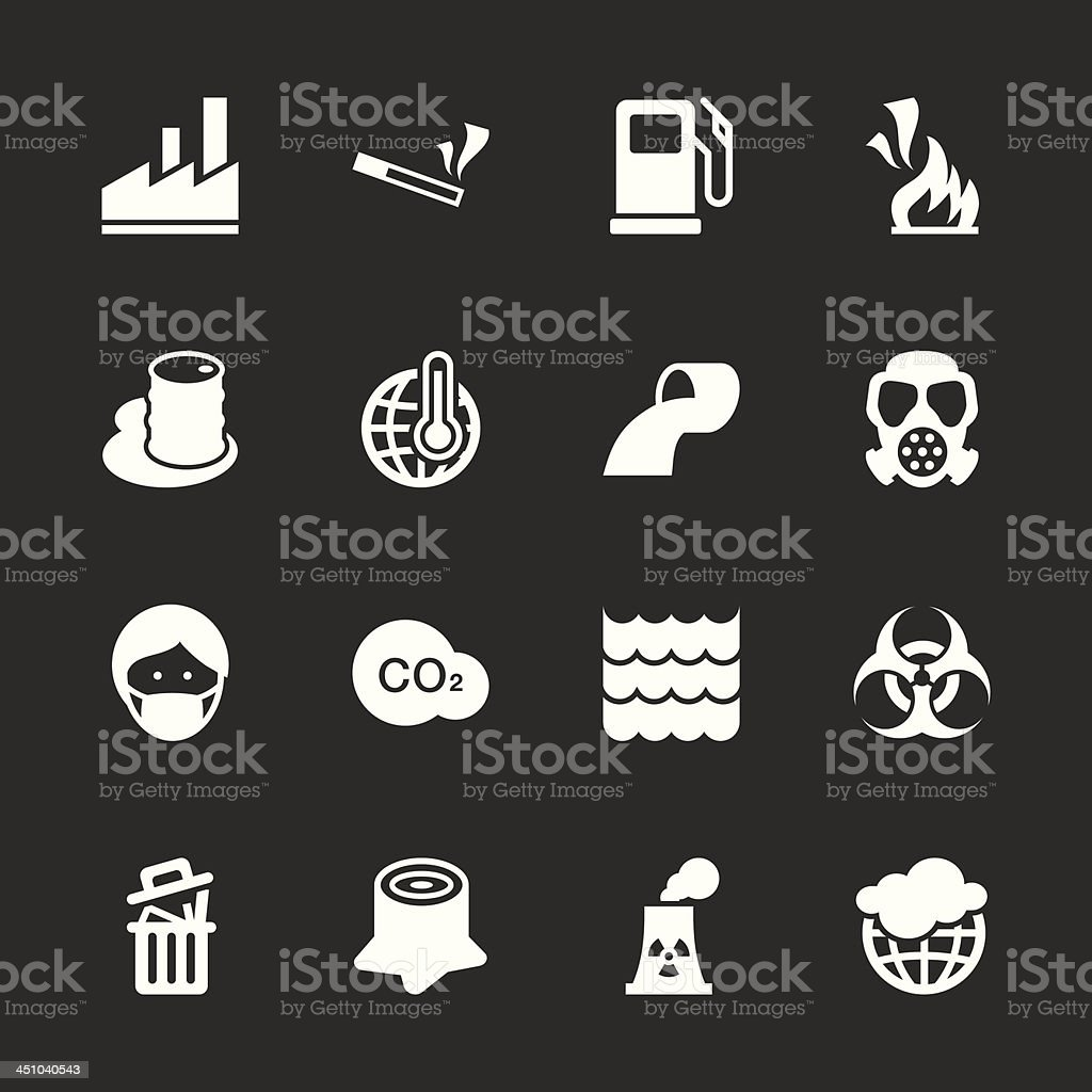 Pollution Icons - White Series | EPS10 vector art illustration