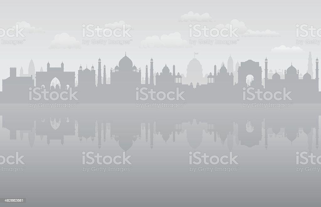 Pollution in India vector art illustration