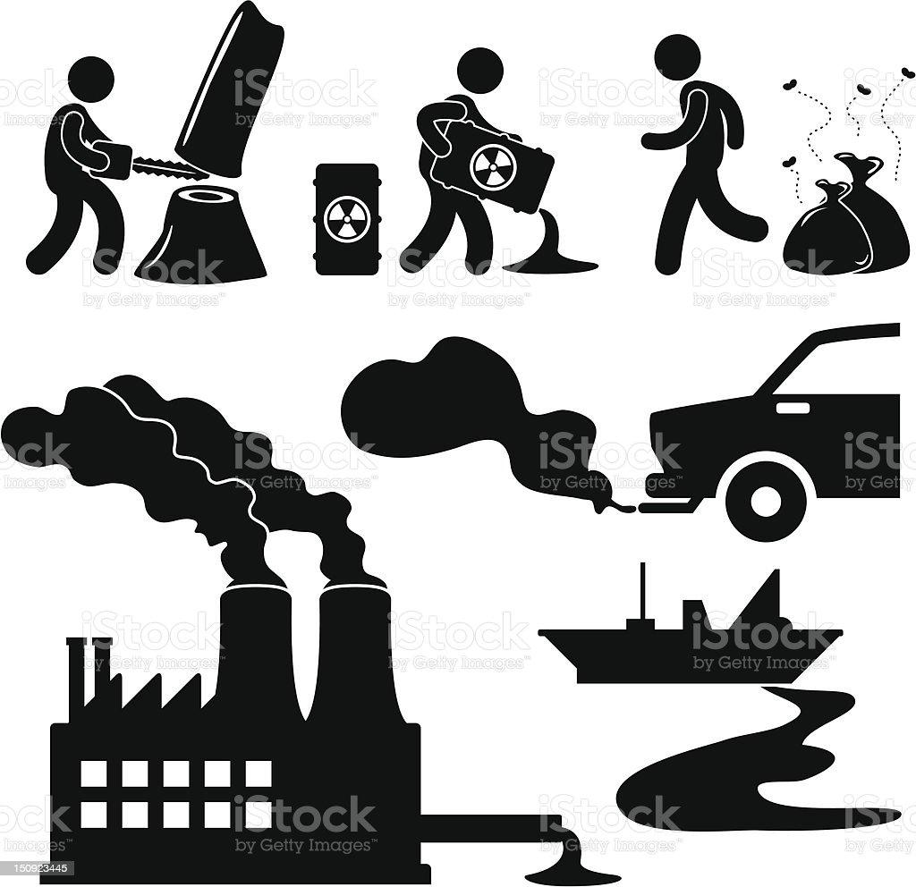 Pollution Problem Pictogram vector art illustration