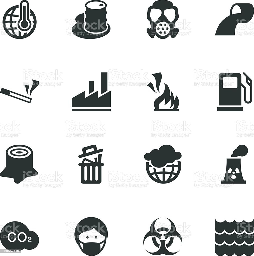 Pollution Silhouette Icons vector art illustration