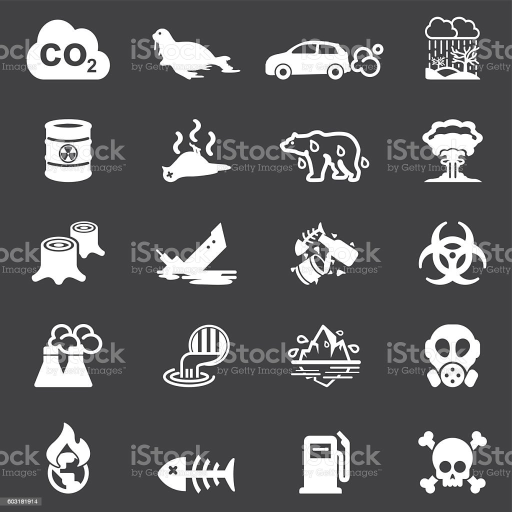 Pollution White Silhouette Icons | EPS10 vector art illustration