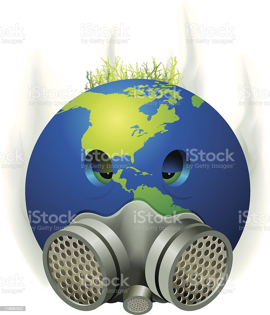 pollution world mask royalty-free stock vector art