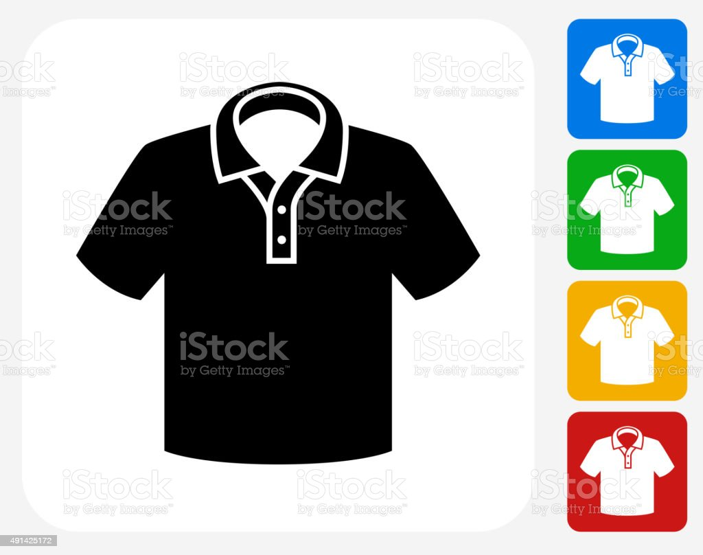 Polo Shirt Icon Flat Graphic Design vector art illustration