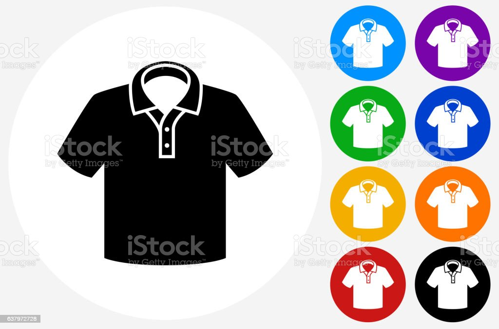 Polo Shirt Icon on Flat Color Circle Buttons vector art illustration