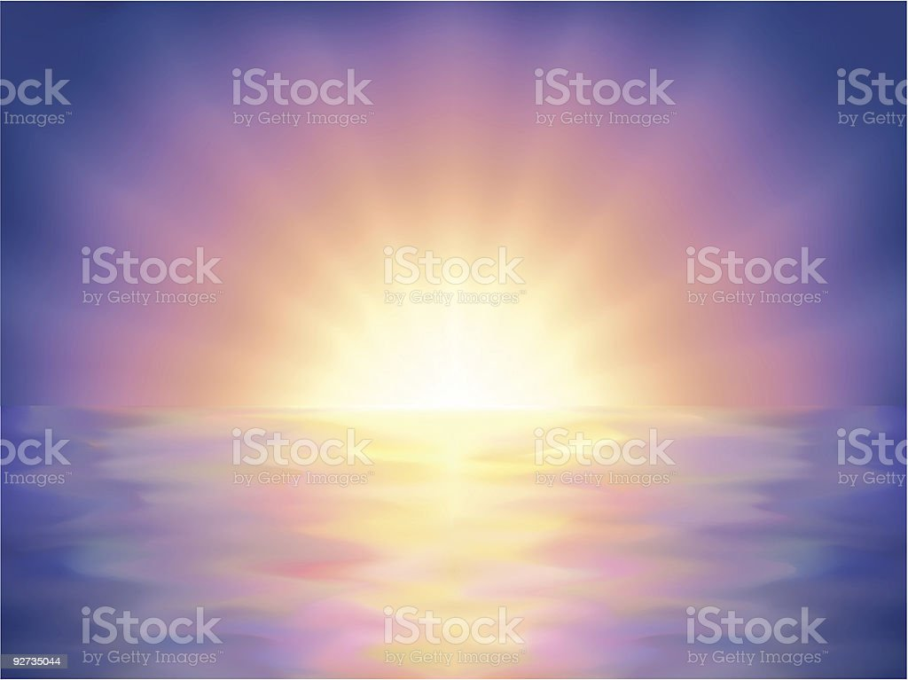 Polychromatic heavenly colorful ocean sunset royalty-free stock vector art