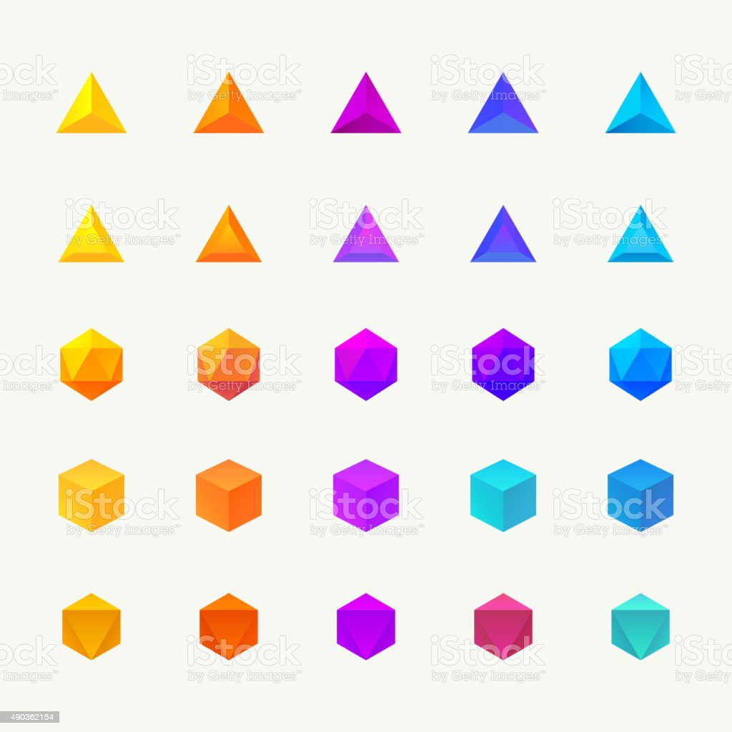 Polygon 3d objects set. Vector icons vector art illustration