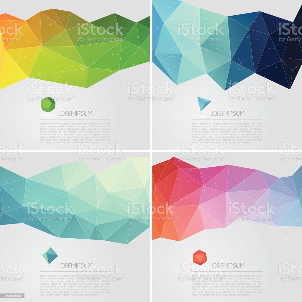 Polygon abstract backgrounds with text vector art illustration
