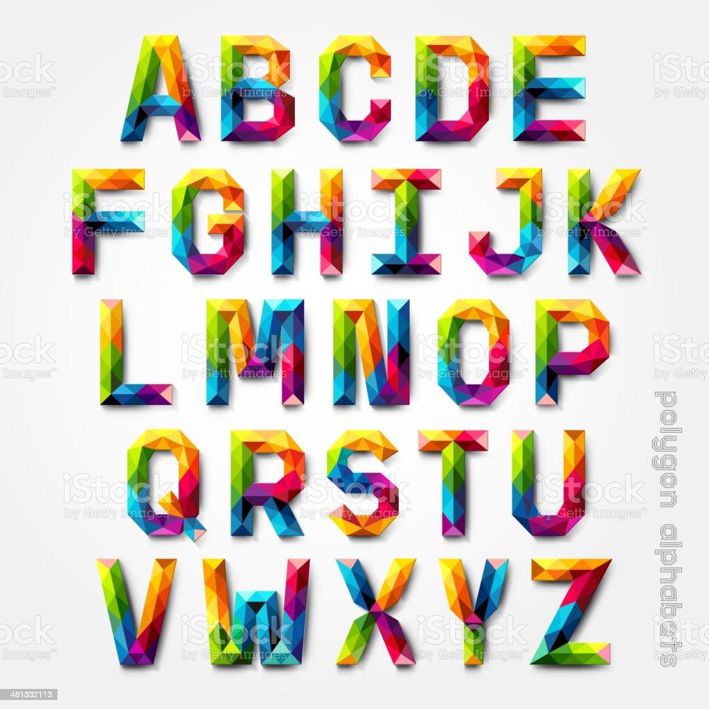 Polygon alphabet colorful font style. vector art illustration