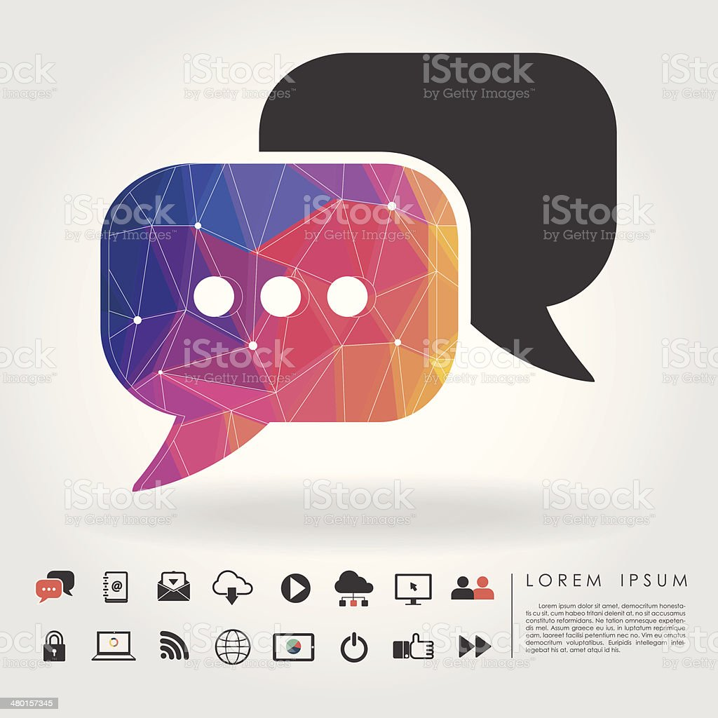 polygon bubble talk with communication icon vector art illustration