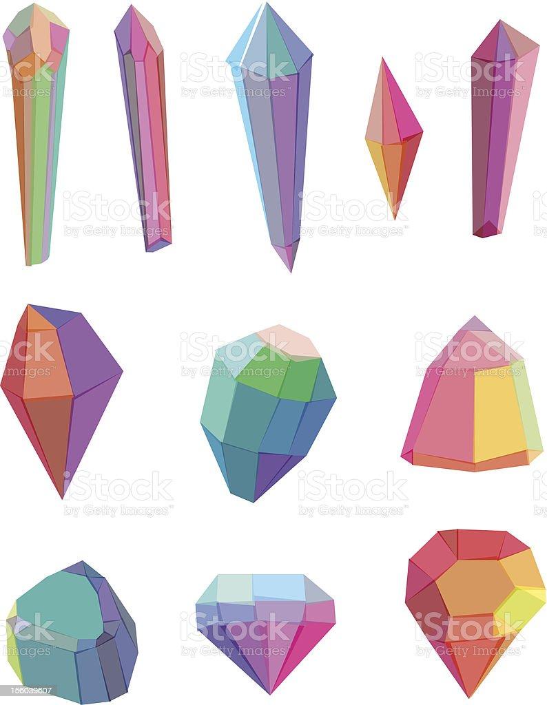 Polygon crystal vector art illustration