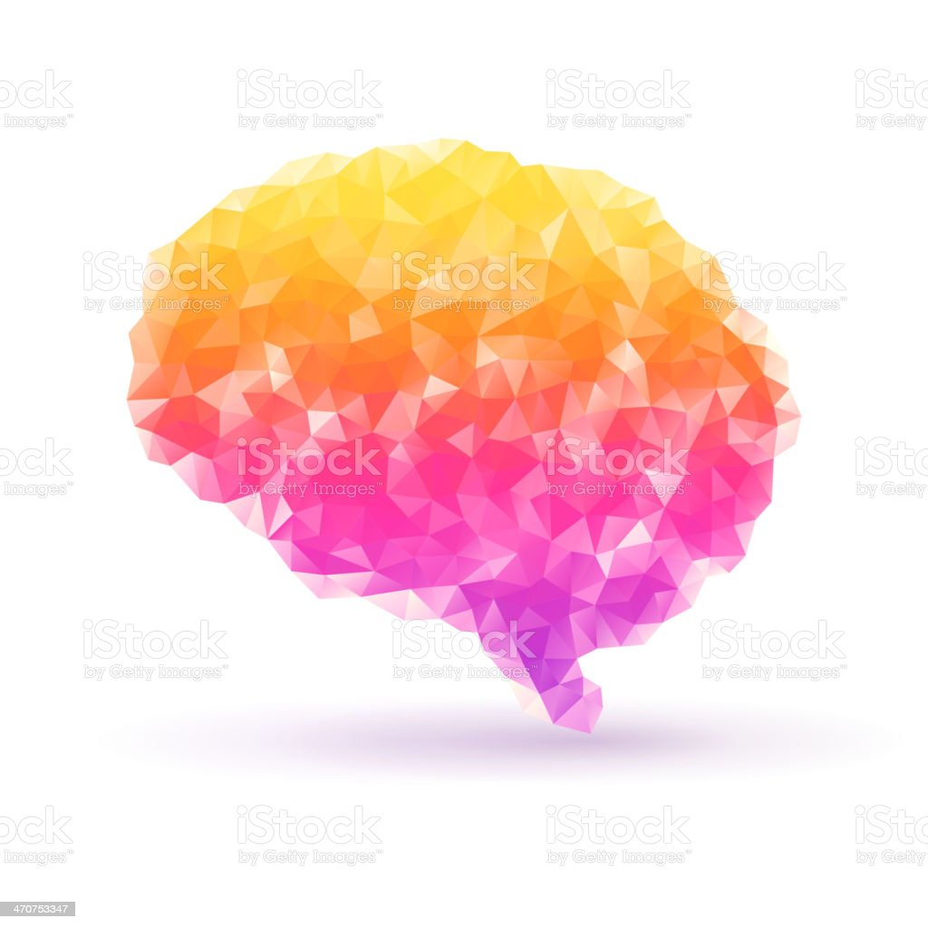 Polygon human brain on white background with shadow. vector art illustration