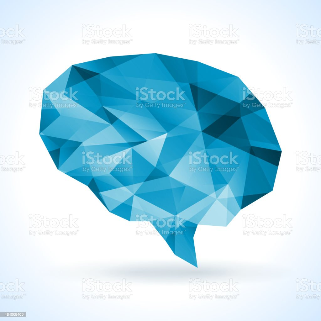 Polygon human brain. vector art illustration
