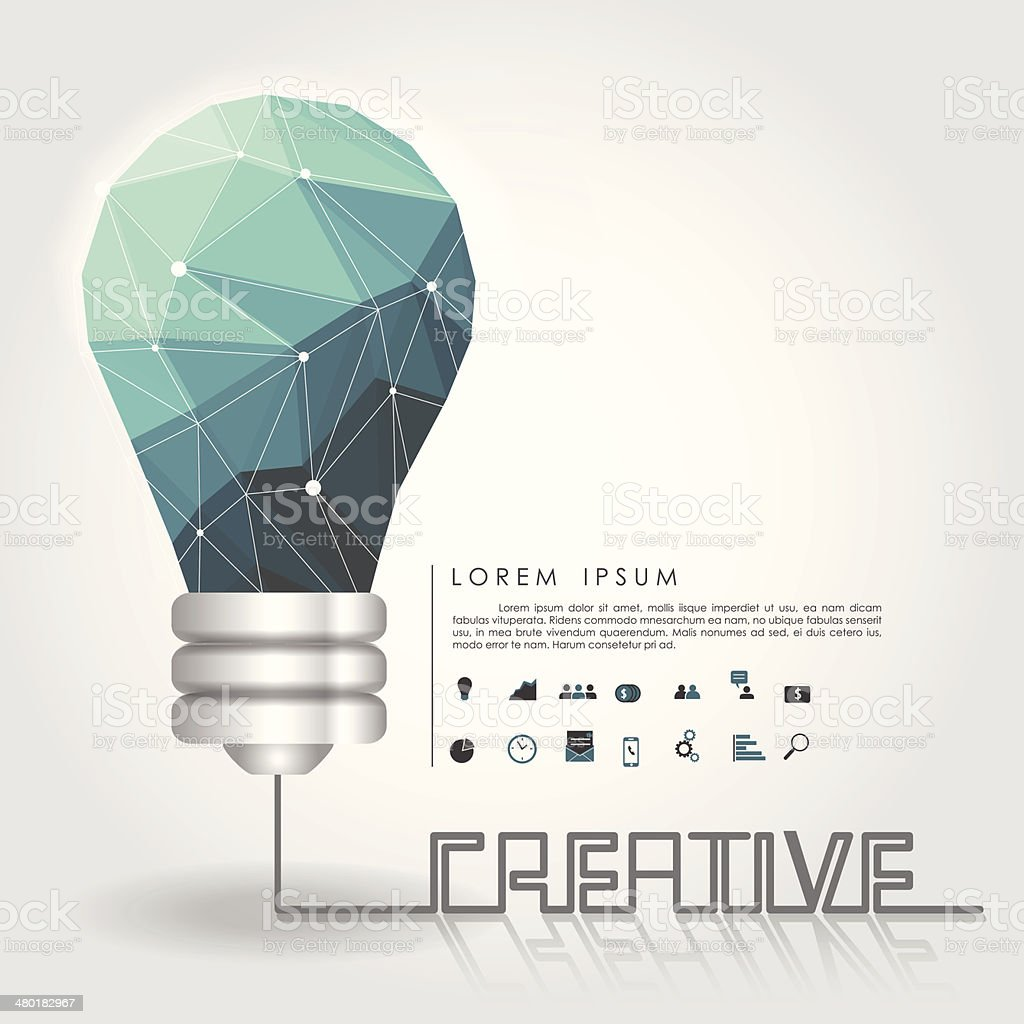 polygon idea light bulb with business icon and creative line vector art illustration