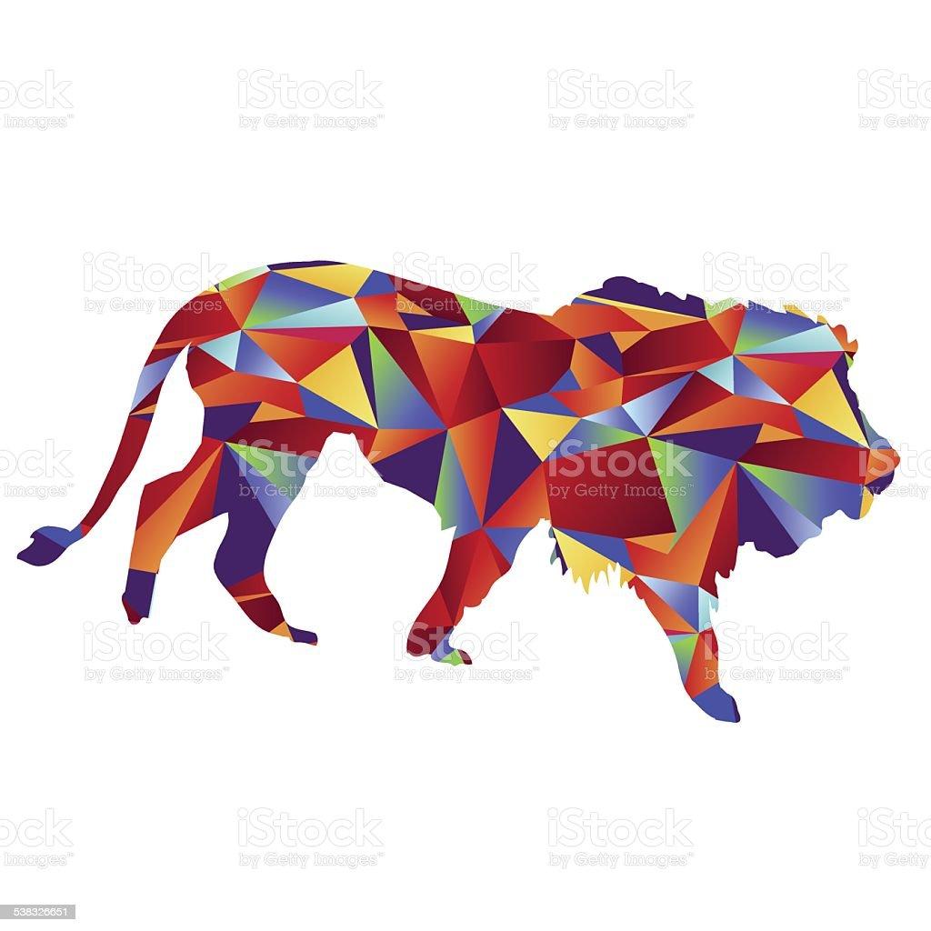 Polygon Lion Icon vector art illustration
