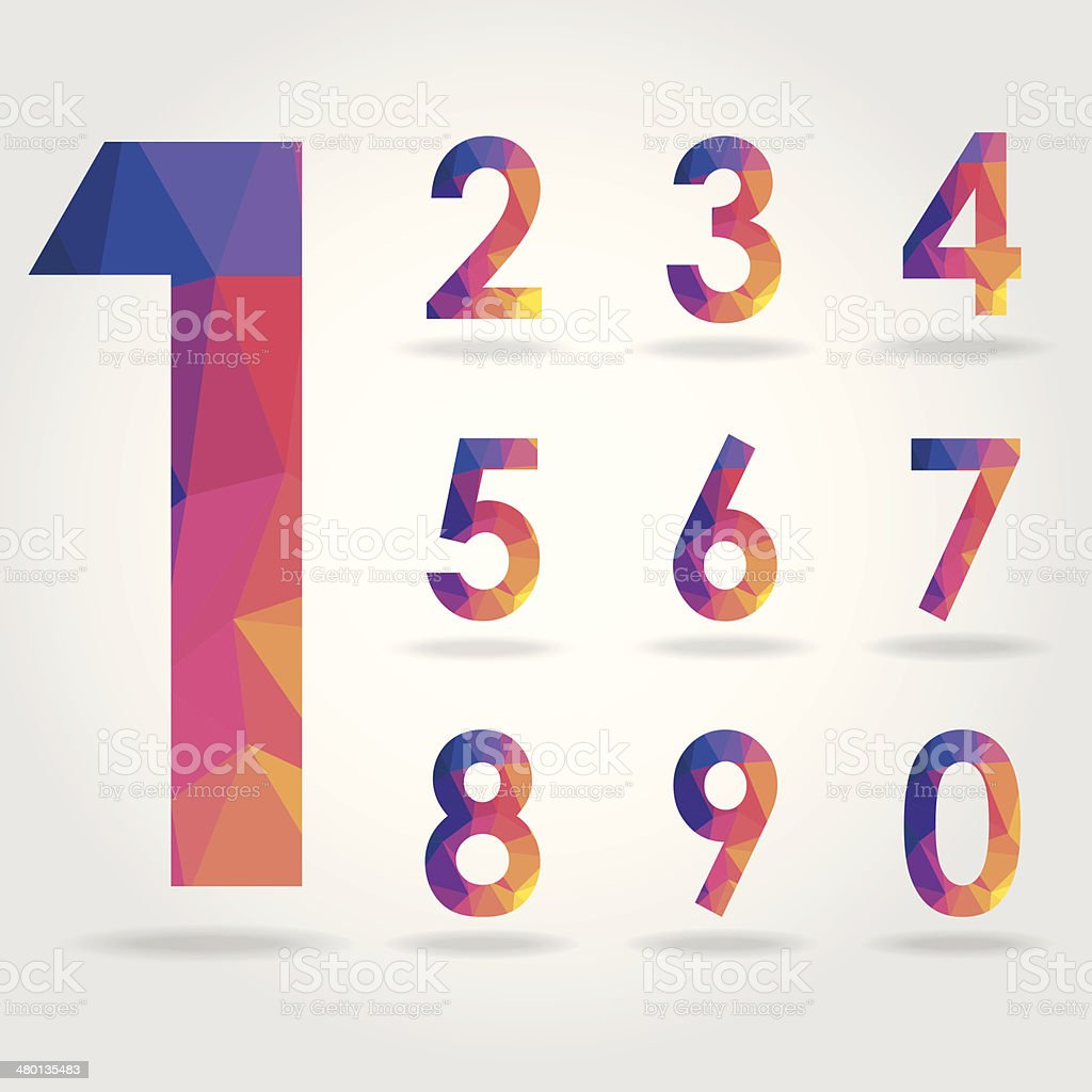 polygon number set vector art illustration