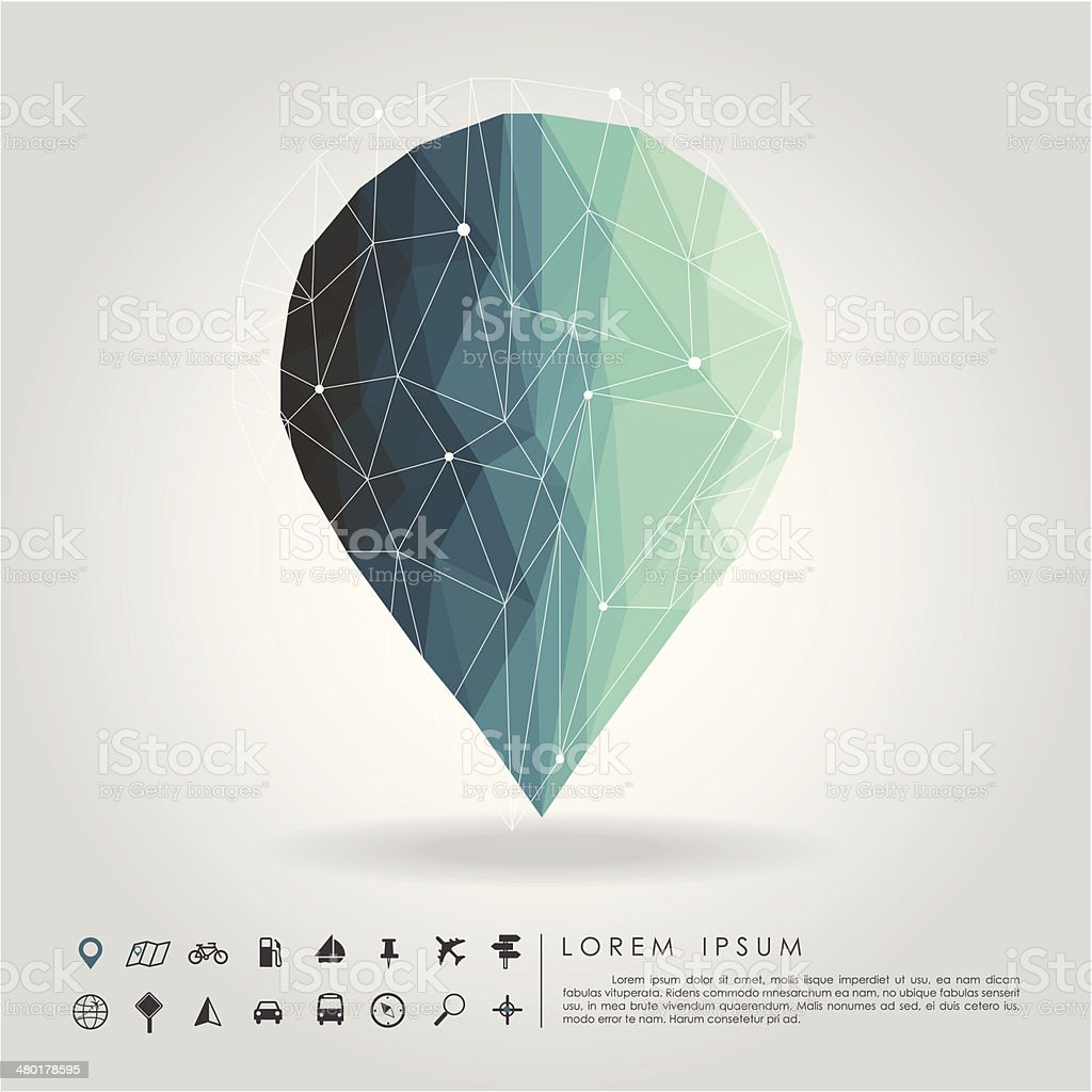 polygon pin with map icon vector art illustration