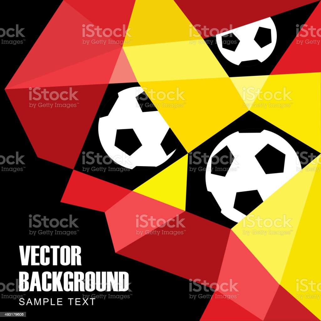 Polygon soccer football background, in German, Belgian flag colors vector art illustration