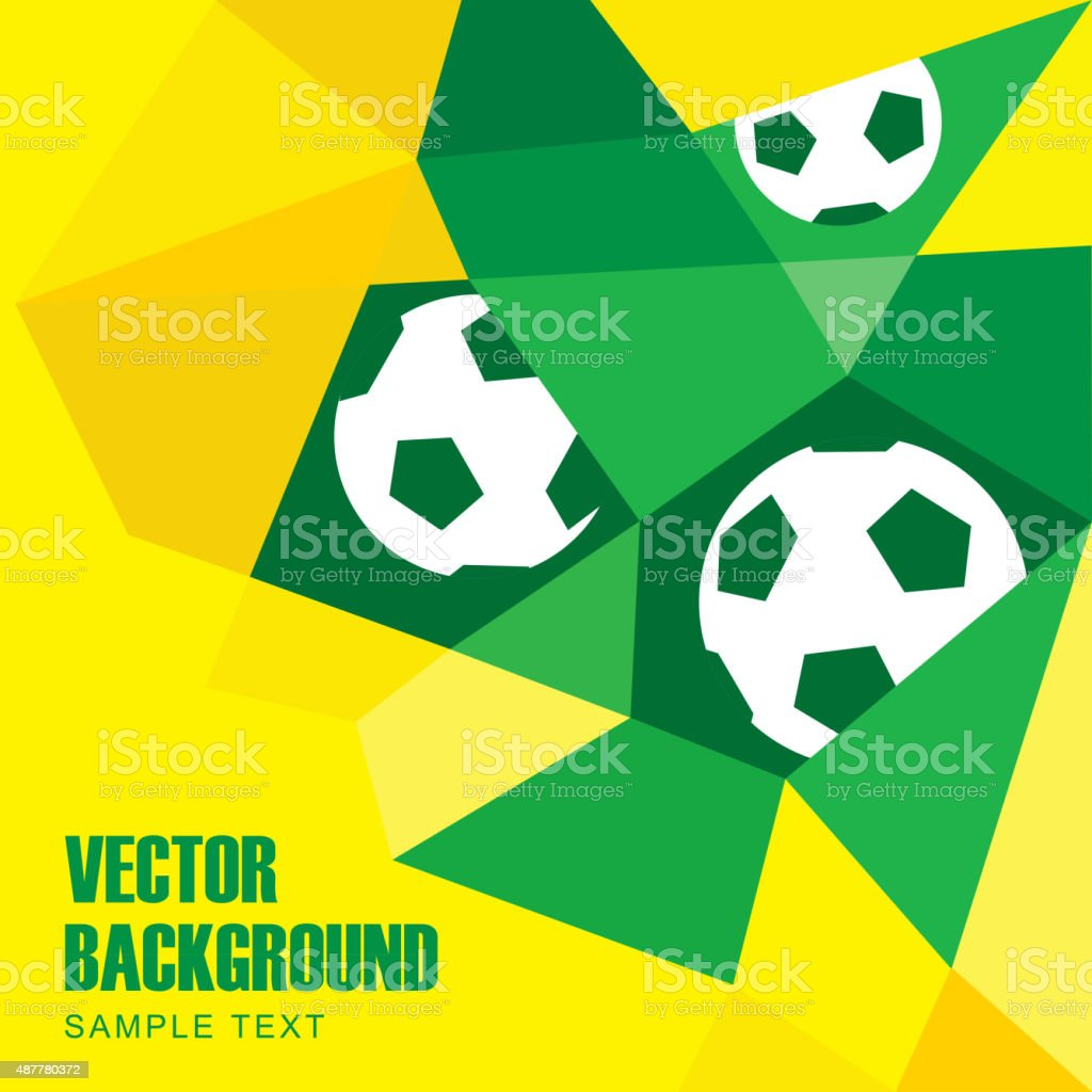 Polygon soccer football background with balls in Brazilian colors vector art illustration