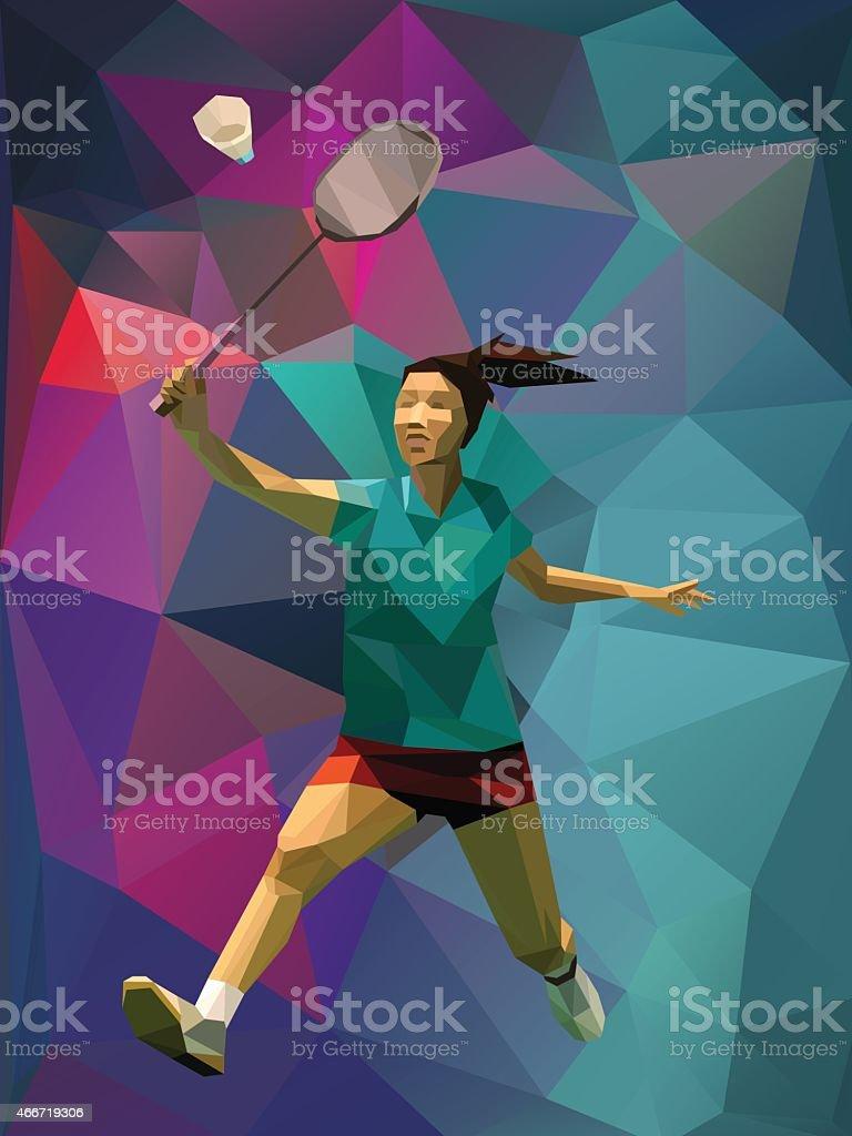 Polygon style female badminton player vector art illustration