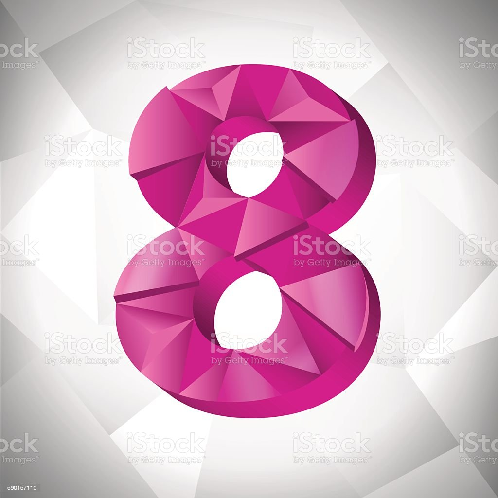 Polygon triangle number eight on the white  abstract background. Eps10 royalty-free stock vector art