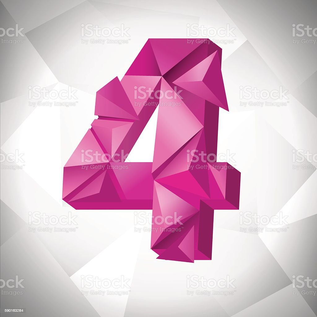 Polygon triangle number four on the white  abstract background. Eps10 royalty-free stock vector art