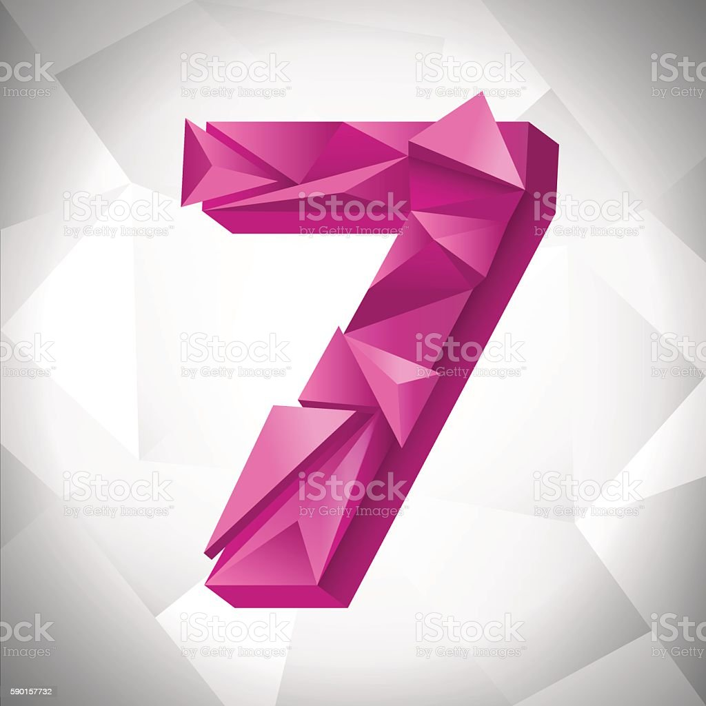 Polygon triangle number seven on the white  abstract background. Eps10 royalty-free stock vector art