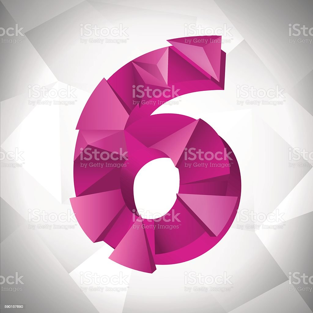 Polygon triangle number six on the white  abstract background. Eps10 royalty-free stock vector art