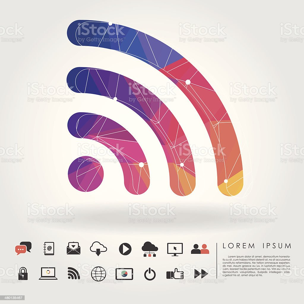 polygon wifi symbol with communication icon vector art illustration
