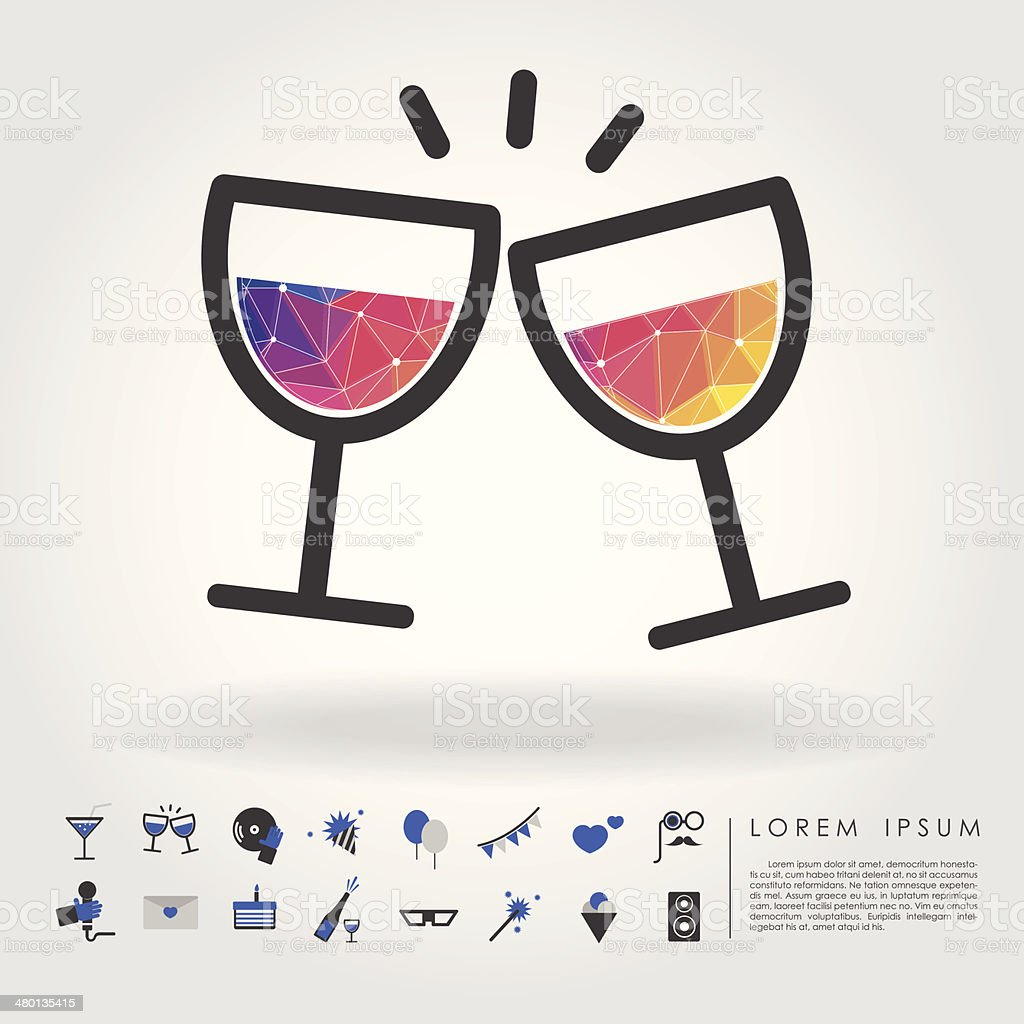 polygon wine glass with party icon vector art illustration
