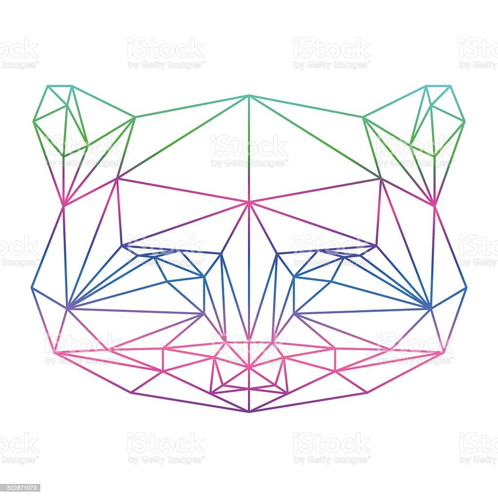 Polygonal Abstract Raccoon Silhouette Drawn In One Continuous Line ...