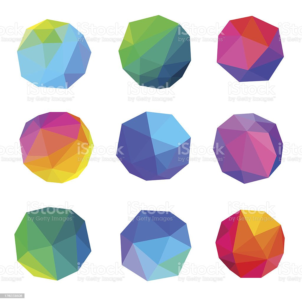 Polygonal Abstracts Set vector art illustration